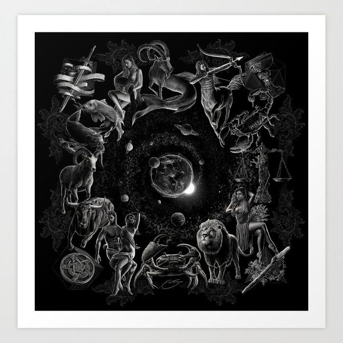 XXI. The World Tarot Card Illustration (Zodiacs) Art Print