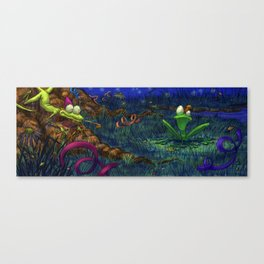 the lizard and the frog Canvas Print