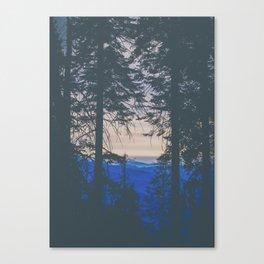 blue mountain layers through the trees Canvas Print