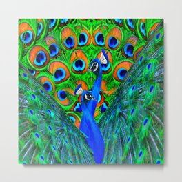 BLUE PEACOCKS PATTERN DESIGN Metal Print