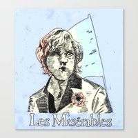 les mis Canvas Prints featuring Enjolras Les Mis Poster by Pruoviare