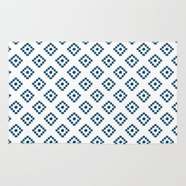 Geometrical abstract hand painted navy blue pattern Rug