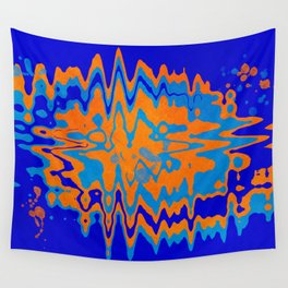 Blue Orange Abstract Wall Tapestry