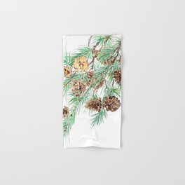 pine cones watercolor Hand & Bath Towel