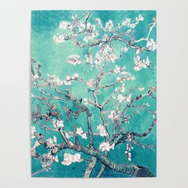 Vincent Van Gogh Almond Blossoms Turquoise Poster
