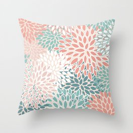 Festive, Floral Prints, Teal Green, Peach, Coral, Colour Prints Throw Pillow
