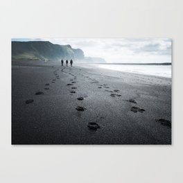 Black beach at Vik Canvas Print