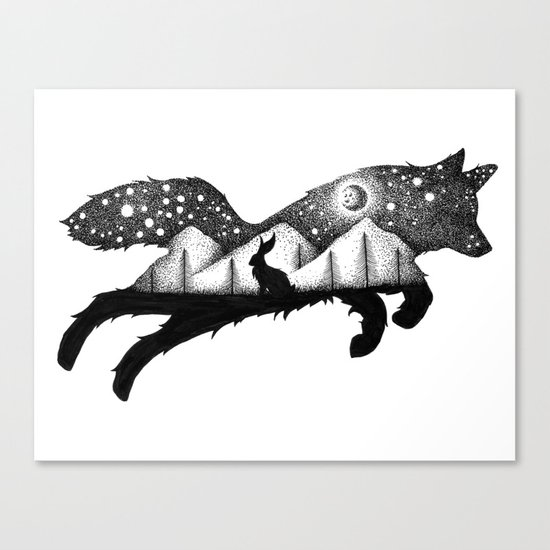 THE FOX AND THE HARE Canvas Print