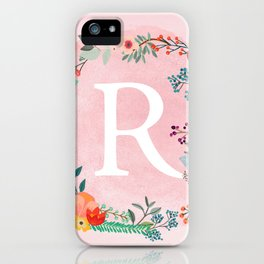 Flower Wreath with Personalized Monogram Initial Letter R on Pink Watercolor Paper Texture Artwork iPhone Case