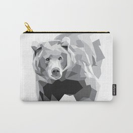 Geometric Bear on White Carry-All Pouch