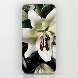White lily vintage flower iPhone Skin