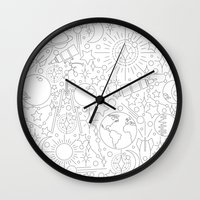 astronomy Wall Clocks featuring Astronomy by Jordan Moyer
