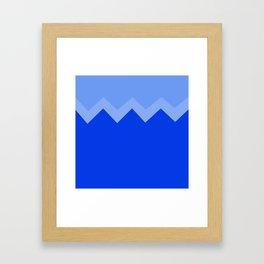 Geometric abstract - zigzag, blue. Framed Art Print