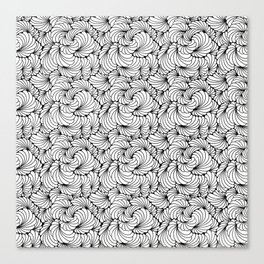 Flowz  - abstract organic doodle lineart in black and white Canvas Print