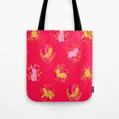 Picnic Pals animals in strawberry Tote Bag