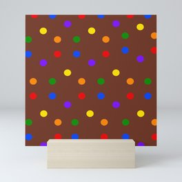 Playful Dots in Primary and Secondary Colors on brown background Mini Art Print