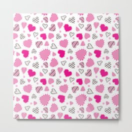 Hearts, Swirls, Dots and Stripes on White Metal Print