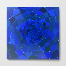 Sapphire Blue Geometric Cosmic Galaxy Metal Print