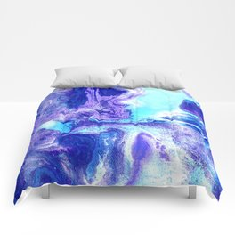 Swirling Marble in Aqua, Purple & Royal Blue Comforters