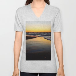 Beach after the Wave at Sunset Unisex V-Neck