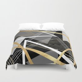 Original Gray and Gold Abstract Geometric Duvet Cover