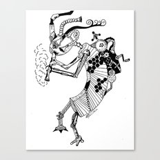Steampunk Kokopelli Original Pen and Ink Design Canvas Print