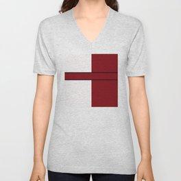 Team Color 6...maroon,white Unisex V-Neck