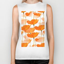 Orange Poppies On A White Background #decor #society6 #buyart Biker Tank