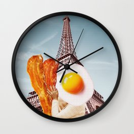 Bacon and Eggs - Perfect Couple in Paris - Digital Collage Artwork Wall Clock