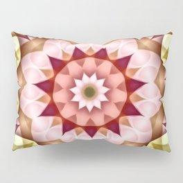 Pink Green Flower Kaleidoscope Pillow Sham