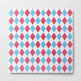 Red, White & Blue: Argyle Pattern Metal Print