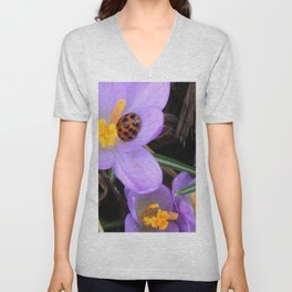 Lady Bug napping in Crocus Unisex V-Neck