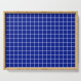 Indigo dye - blue color - White Lines Grid Pattern Serving Tray