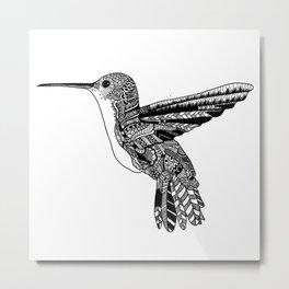 Hummingbird on White Metal Print