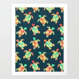 Cute Flower Child Hippy Turtles Art Print
