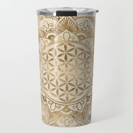 Flower of Life in Lotus - pastel golds and canvas Travel Mug