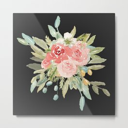 Loose Watercolor Rose Bouquet Dark Background Metal Print