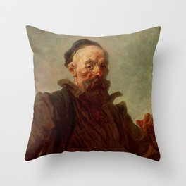 Jean-Honore Fragonard - Portrait of a Man in Spanish Costume Throw Pillow