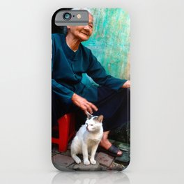 Vietnamese Woman with White Cat iPhone Case