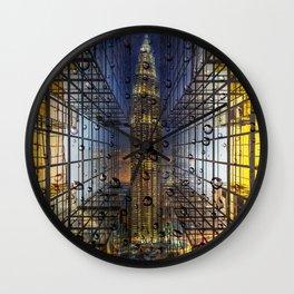 Rain in a City Wall Clock