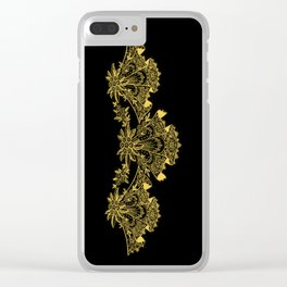 Vintage Lace Hankies Black and Primrose Yellow Clear iPhone Case