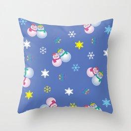 Snowflakes & Pair Snowman_C Throw Pillow