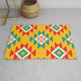 Bold and Vibrant Native Inspired Pattern on Yellow Rug