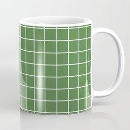 Fern green - green color - White Lines Grid Pattern Coffee Mug