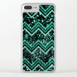 Emerald Glitter Chevron #1 #shiny #decor #art #society6 Clear iPhone Case