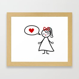 cute lovely black white red stick figure girl and speech bubble with heart Framed Art Print