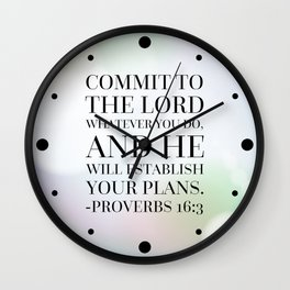 Proverbs 16:3 Bible Quote Wall Clock
