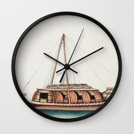 Chinese painting featuring river freight junk (ancient Chinese ship) (ca1800-1899) from the Miriam a Wall Clock