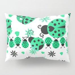 Cute Ladybugs green Pillow Sham