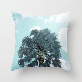 Teal Sky - Bismarck Palm Tree Throw Pillow